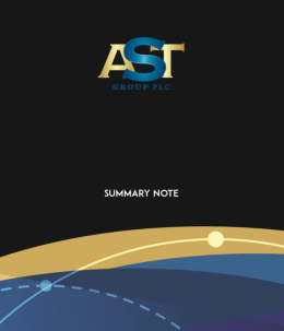 The AST Group p.l.c.'s summary note frontpage