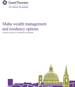 "The ""Malta wealh management and residency options"" brochure frontpage"
